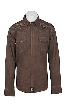 Rock 47 by Wrangler Men's Solid Brown Embroidery Western Snap Shirt