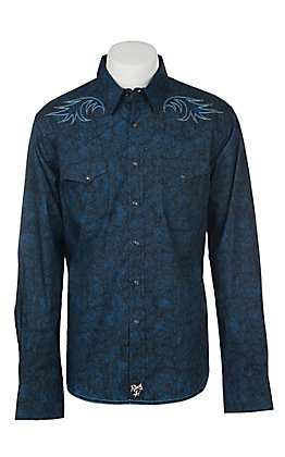 Rock 47 by Wrangler Men's Solid Navy Print Embroidery Western Snap Shirt