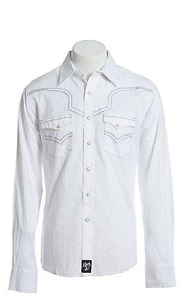 Rock 47 by Wrangler Men's White Long Sleeve Western Snap Shirt
