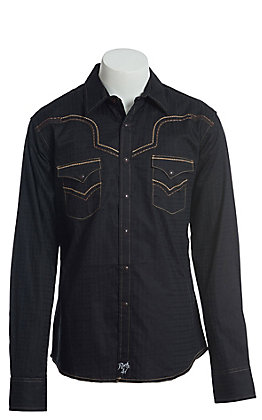 Rock 47 by Wrangler Men's Black Long Sleeve Western Snap Shirt