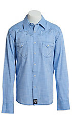 Rock 47 by Wrangler Men's Light Blue Long Sleeve Western Snap Shirt