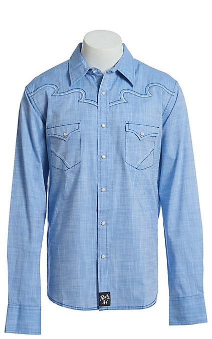 Wrangler Rock 47 >> Rock 47 By Wrangler Men S Light Blue Long Sleeve Western Snap Shirt