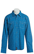 Rock 47 by Wrangler Men's Blue With Aztec Print Long Sleeve Western Snap Shirt
