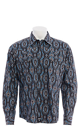 Rock 47 by Wrangler Men's Black Grey and Blue Aztec Print Long Sleeve Western Shirt