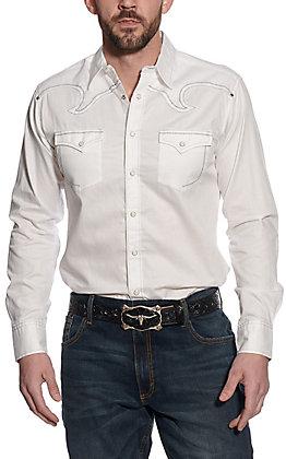 Rock 47 by Wrangler Men's White Long Sleeve Western Shirt
