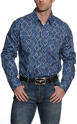 Wrangler Rock 47 Men's Diamond Print Long Sleeve Western Shirt