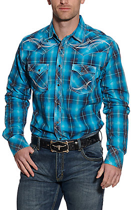 Wrangler Rock 47 Men's Turquoise Plaid Long Sleeve Western Shirt