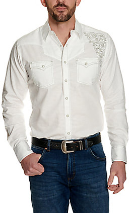Rock 47 by Wrangler Men's White with Embroidery Long Sleeve Western Shirt