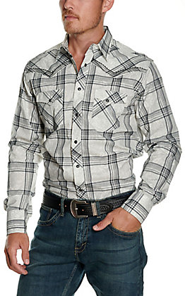 Wrangler Rock 47 Men's White with Grey Paisley and Black Plaid Embroidered Long Sleeve Western Shirt
