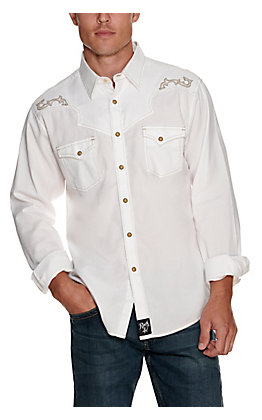 Wrangler Rock 47 Men's White with Swirl Embroidery Textured Long Sleeve Western Shirt