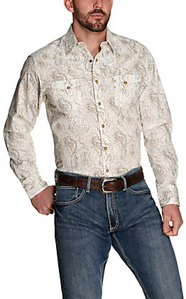 Wrangler Rock 47 Men's White with Brown and Blue Swirl Print Long Sleeve Western Shirt