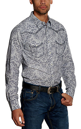 Wrangler Rock 47 Men's Blue with Navy Paisley Embroidered Long Sleeve Western Shirt