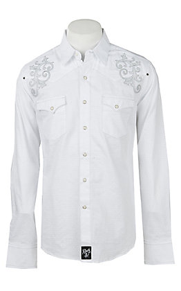 Rock47 By Wrangler Men's White Embroidered Pearl Snap Western Shirt
