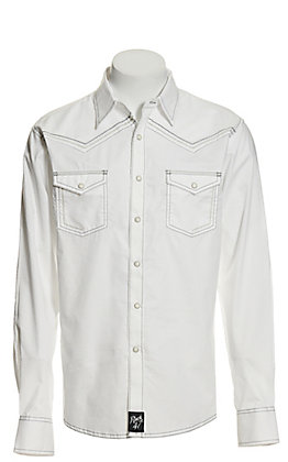 Rock 47 by Wrangler Men's Solid White with Thick Stitching Long Sleeve Western Shirt - Cavender's Exclusive