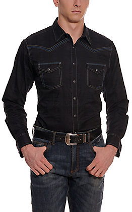 Rock 47 by Wrangler Men's Black with Tonal Plaid Long Sleeve Western Shirt - Cavender's Exclusive