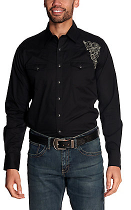 Rock 47 by Wrangler Men's Black with Embroidery Long Sleeve Western Shirt - Cavender's Exclusive