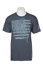 Wrangler Men's Blue Heather Flag Graphic T-Shirt