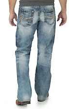 Rock 47 by Wrangler Men's Light Wash Open Pocket Relaxed Boot Cut Jeans