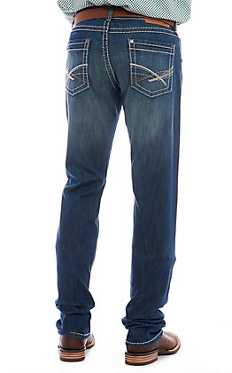 Wrangler Rock 47 Men's Medium Wash Slim Fit Straight Leg Stretch Jeans