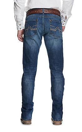 Wrangler Rock 47 Men's Drum Medium Wash Slim Fit Straight Leg Stretch Jean