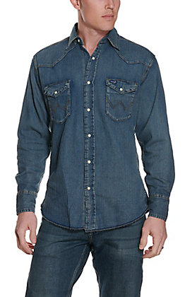ced28228e3c Wrangler Indigo Slub Denim Long Sleeve Shirt