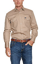 Wrangler Khaki Long Sleeve Workshirt MS70319 - Big & Tall