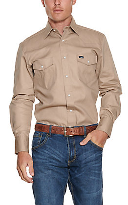 Wrangler Khaki Long Sleeve Workshirt MS70319 - Alpha Sizes