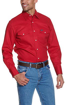 Wrangler Men's Red Twill Long Sleeve Snap Work Shirt - Big & Tall