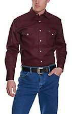 Wrangler Burgundy Twill Long Sleeve Workshirt - Big and Tall