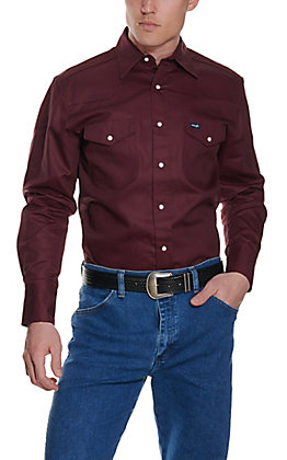 Wrangler Burgundy Twill Long Sleeve Workshirt