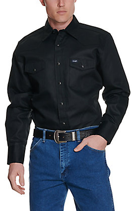 Wrangler Men's Black Twill Long Sleeve Snap Workshirt