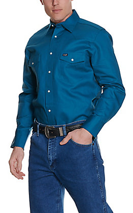 Wrangler Dark Teal Long Sleeve Workshirt