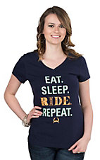 Cinch Women's Navy Eat Sleep Ride Repeat Screen Print Cap Sleeve Casual Knit Tee