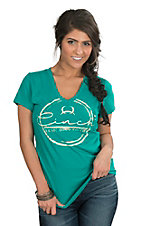 Cinch Women's Teal Logo V-Neck Tee