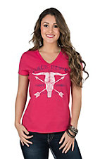 Cinch Women's Pink Logo with Bull Skull and Arrows Casual Knit Tee