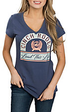 Cinch Women's Blue V-Neck Short Sleeve Casual Tee