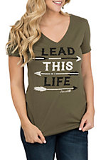 Cinch Women's Olive Jersey V-Neck T-Shirt
