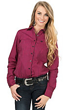 Cinch Women's Hot Pink & Black Stripe Long Sleeve Western Shirt