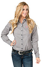 Cinch Women's Grey Diamond Print Long Sleeve Western Shirt