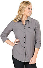 Cinch Women's Grey Mylar Stripe Long Sleeve Western Shirt