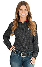 Cinch Women's Black with White Polkadot Print Long Sleeve Western Shirt