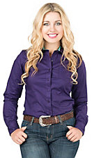 Cinch Women's Purple Solid Long Sleeve Wesern Shirt