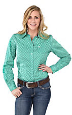 Cinch Women's Green, Purple and White Print Long Sleeve Western Shirt