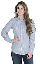 Cinch Women's Blue and White Stripe Long Sleeve Western Shirt