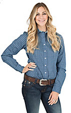Cinch Women's Navy, Green, White, and Blue Print Long Sleeve Western Shirt