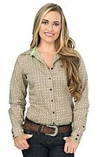 Cinch Women's Green and Red Medallion Print Long Sleeve Western Shirt