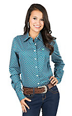 Cinch Ladies Teal Mini Print Long Sleeve Western Shirt