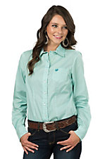 Cinch Ladies Turquoise Mini Print Long Sleeve Western Shirt