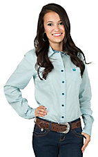 Cinch Ladies Teal and White Print Long Sleeve Western Shirt