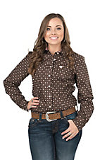 Cinch Women's Brown, Pink, and Cream Floral Print Long Sleeve Western Shirt